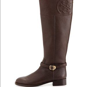 Tory Burch Marlene Pebbled Leather Riding Boot